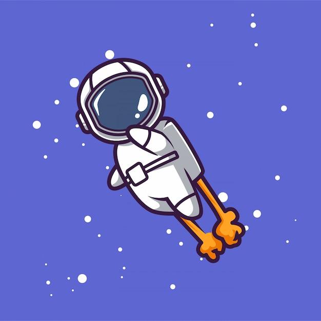 スペースマスコットデザインイラストでかわいい宇宙飛行士 Premiumベクター