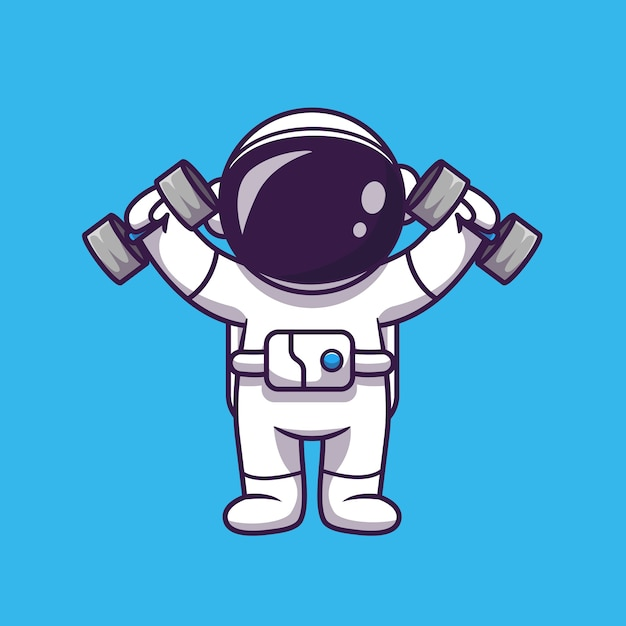 かわいい宇宙飛行士リフティングダンベル漫画アイコンイラスト。科学スポーツアイコンコンセプト分離。フラット漫画スタイル 無料ベクター