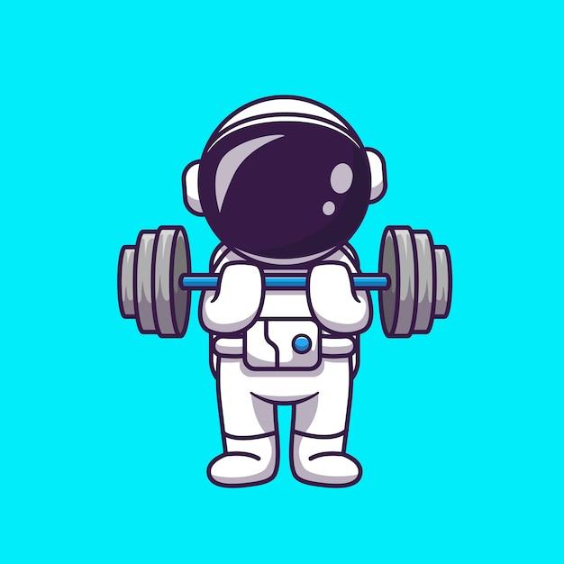 Illustrazione sveglia dell'icona del fumetto del manubrio di sollevamento dell'astronauta. concetto di scienza sport icona isolato. stile cartone animato piatto Vettore gratuito