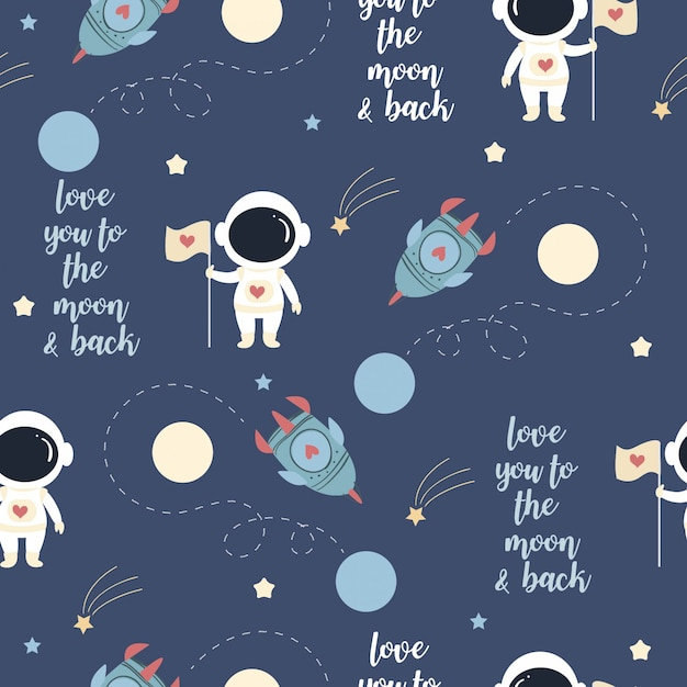 Cute astronaut in love on the space pattern Premium Vector