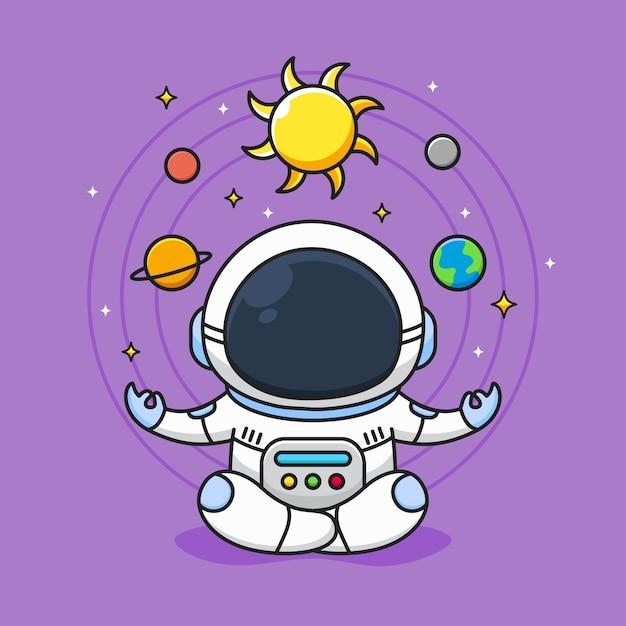 かわいい宇宙飛行士は銀河系の背景で瞑想します Premiumベクター