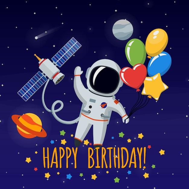 Simpatico astronauta nello spazio esterno. congratulazioni, buon compleanno. sfondo di illustrazione vettoriale Vettore gratuito