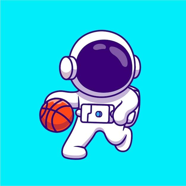 かわいい宇宙飛行士のバスケットボールの漫画イラストを再生します。科学スポーツコンセプト分離フラット漫画 Premiumベクター