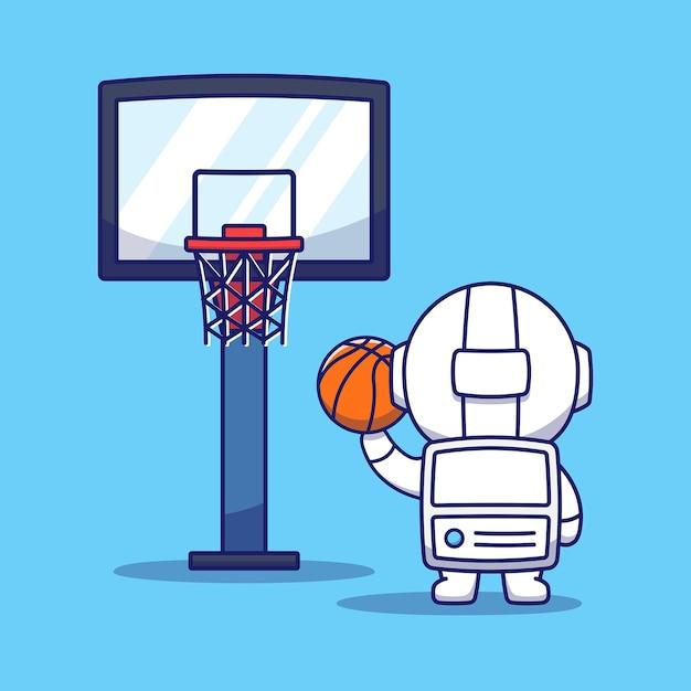 バスケットボールをしているかわいい宇宙飛行士 Premiumベクター