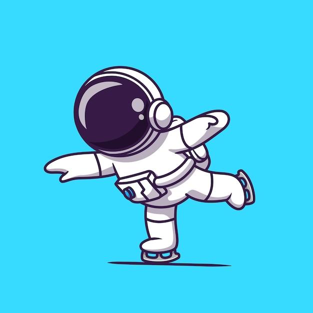 アイススケート漫画を再生するかわいい宇宙飛行士。科学スポーツアイコンコンセプト分離。フラット漫画スタイル Premiumベクター