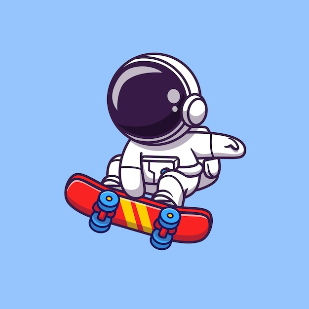 Cute astronaut playing skateboard cartoon vector icon illustration. space sport icon Premium Vector