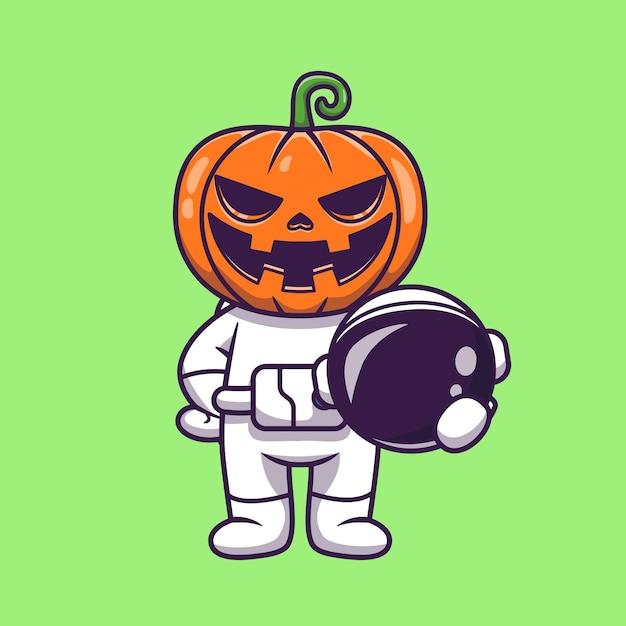 かわいい宇宙飛行士カボチャハロウィーン保持ヘルメット漫画 無料ベクター