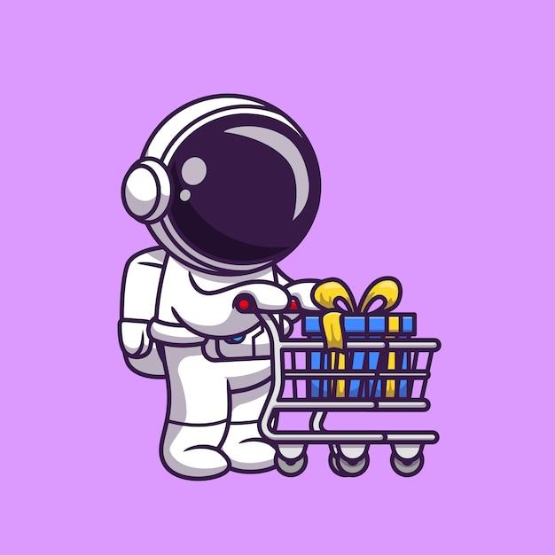 선물 만화 아이콘 일러스트와 함께 귀여운 우주 비행사 푸시 트롤리. 과학 비즈니스 아이콘 개념입니다. 플랫 만화 스타일 무료 벡터