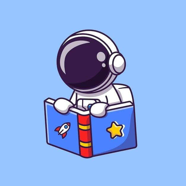 Cute astronaut reading book cartoon illustration. science education concept. flat cartoon style Premium Vector