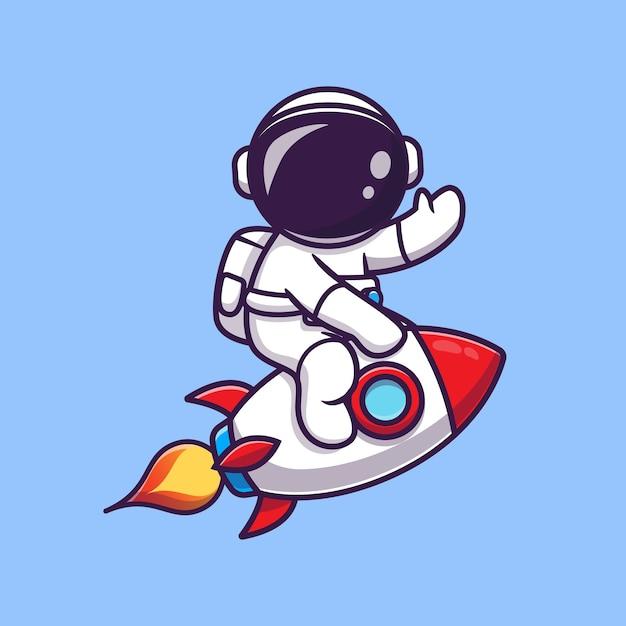 로켓을 타고 손 만화 아이콘 그림을 흔들며 귀여운 우주 비행사. 과학 기술 아이콘 개념 무료 벡터
