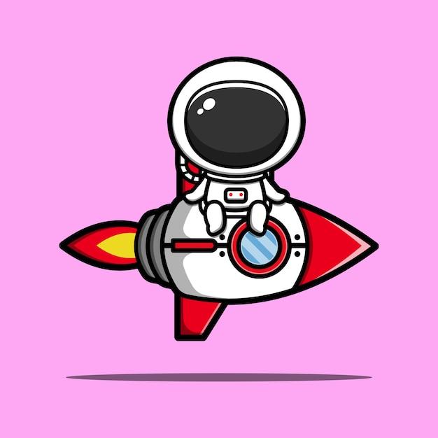 Cute astronaut riding rocket cartoon  icon illustration Premium Vector