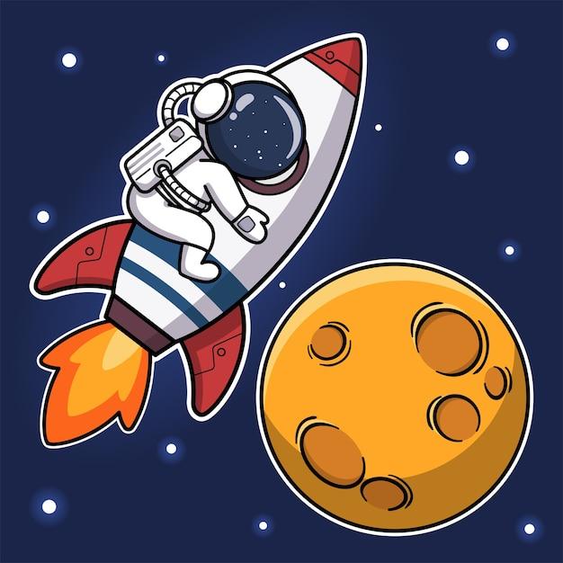 Cute astronaut riding rocket to the moon Premium Vector