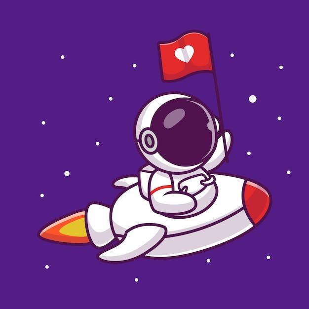 愛フラグ漫画アイコンイラストでロケットに乗ってかわいい宇宙飛行士。人科学空間アイコンコンセプト分離プレミアム。フラット漫画スタイル Premiumベクター