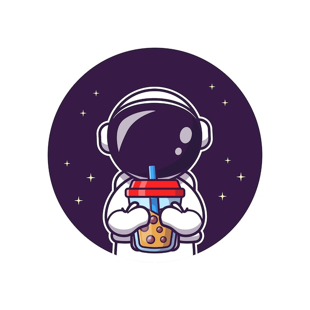Cute astronaut sipping boba milk tea cartoon vector icon illustration. science food and drink icon Premium Vector