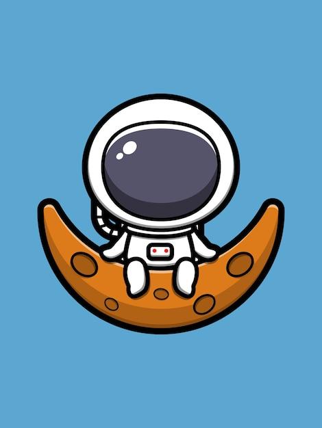 月に座っているかわいい宇宙飛行士漫画アイコンイラスト Premiumベクター