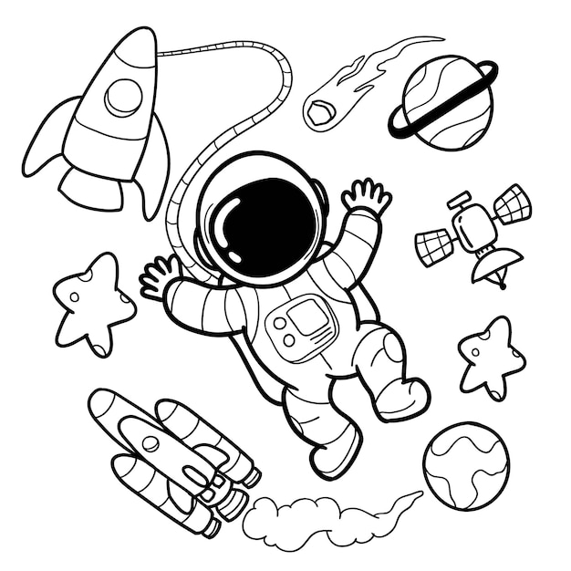 Cute astronaut and space elements hand drawings Premium Vector