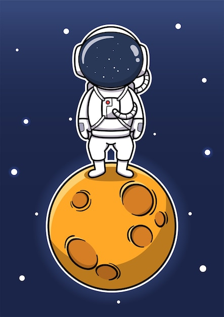 Cute astronaut standing on the moon Premium Vector
