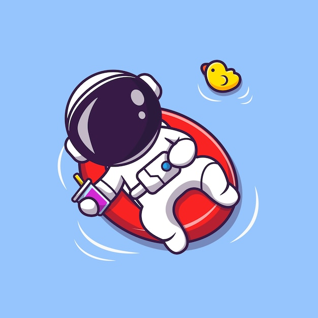 Cute astronaut summer floating on beach with balloon cartoon illustration. science summer concept. flat cartoon style Free Vector
