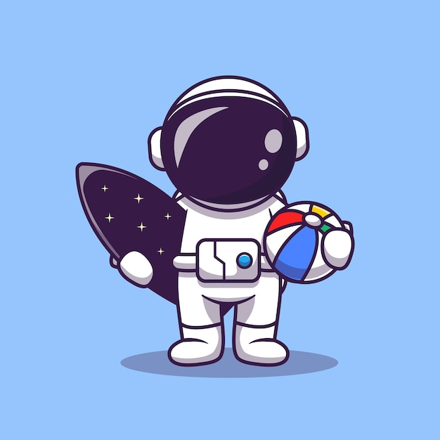Cute astronaut summer with surfboard and ball cartoon vector icon illustration. space summer icon Premium Vector