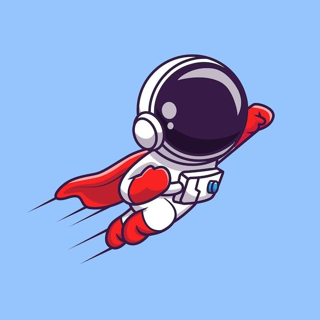 かわいい宇宙飛行士スーパーヒーロー飛行漫画ベクトルアイコンイラスト。科学技術アイコン Premiumベクター
