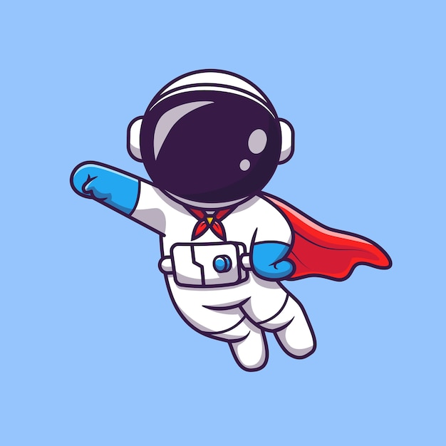 Cute astronaut super hero flying cartoon vector icon illustration. science technology icon Premium Vector