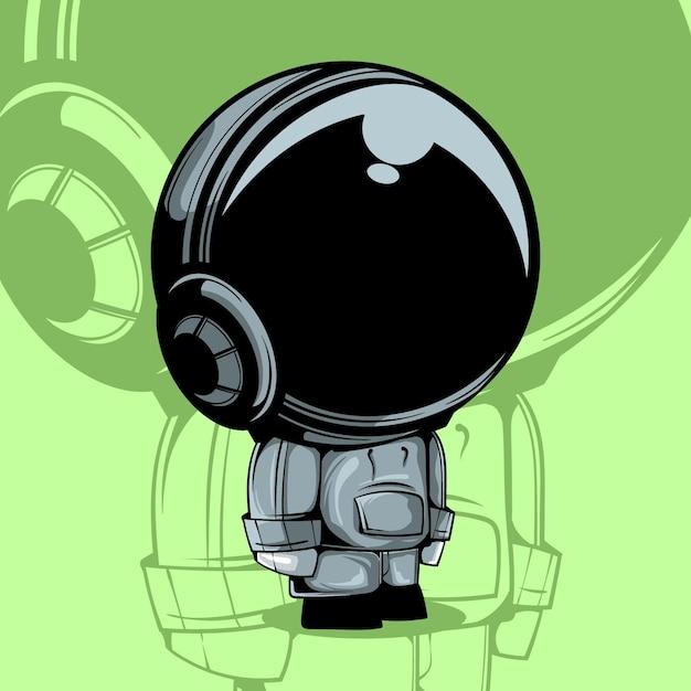 Симпатичная векторная иллюстрация астронавта Premium векторы