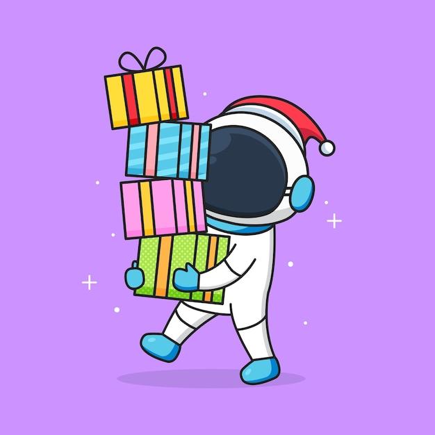 かわいい宇宙飛行士がサンタの帽子をかぶって賞品を持ってきます Premiumベクター