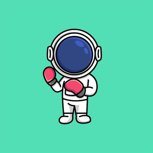 ボクシンググローブスポーツ漫画を身に着けているかわいい宇宙飛行士 Premiumベクター