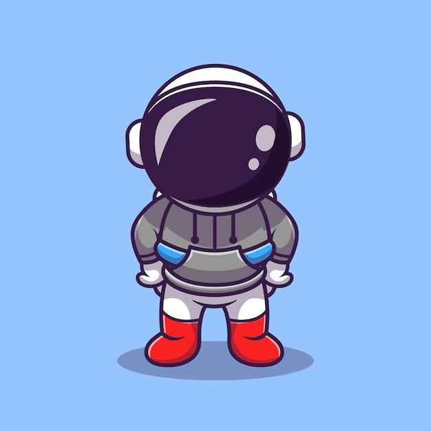 パーカー漫画ベクトルアイコンイラストを身に着けているかわいい宇宙飛行士。科学技術アイコン 無料ベクター