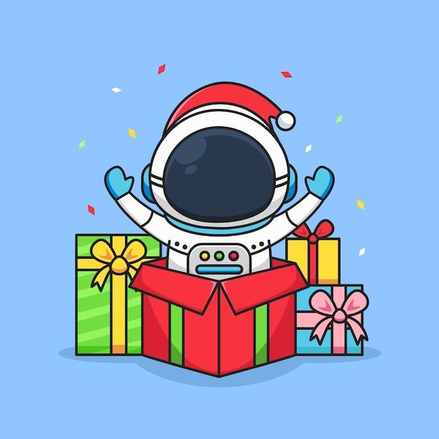 カラフルな賞品を持つかわいい宇宙飛行士 Premiumベクター