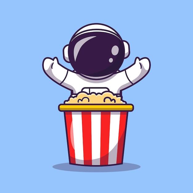 Cute astronaut with popcorn cartoon vector icon illustration. science food icon Free Vector