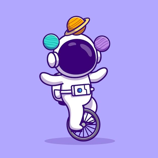 외발 자전거 타기 자전거와 행성 만화 벡터 일러스트와 함께 귀여운 우주 비행사. 사람들이 기술 개념 격리 된 벡터. 플랫 만화 스타일 무료 벡터