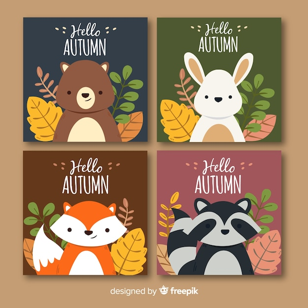 Cute autumn background set with animals Free Vector