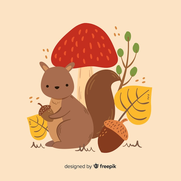 Cute autumn background with animals Free Vector