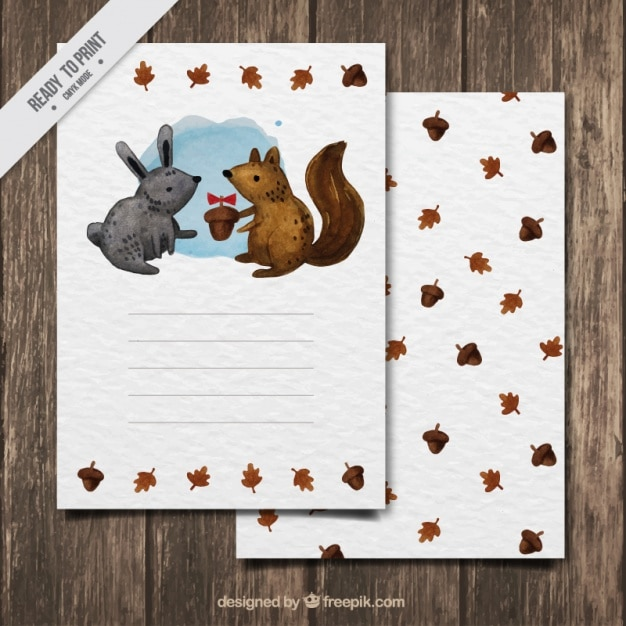 Cute autumn card of watercolorrabbit and squirrel Free Vector