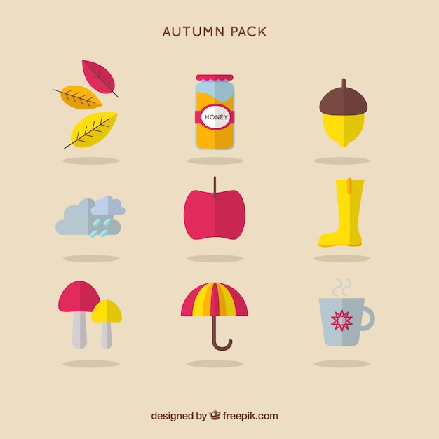 Cute autumn icons pack