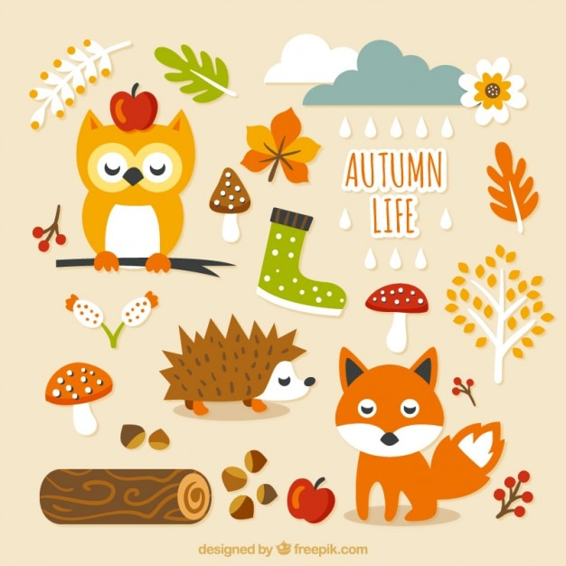 cute autumn life vector free download