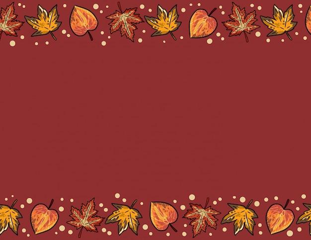 かわいい秋のカエデとポプラの葉のシームレスなパターン。秋の装飾背景テクスチャタイル。テキスト用のスペース Premiumベクター