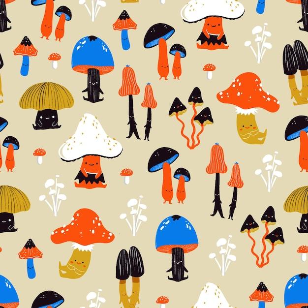 かわいい秋のキノコ-図解シームレスパターン Premiumベクター