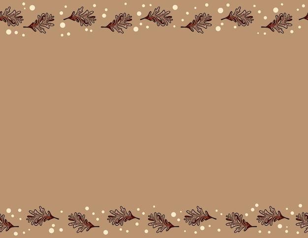かわいい秋のオークの葉のシームレスなパターン。秋の装飾背景テクスチャタイル。テキスト用のスペース Premiumベクター