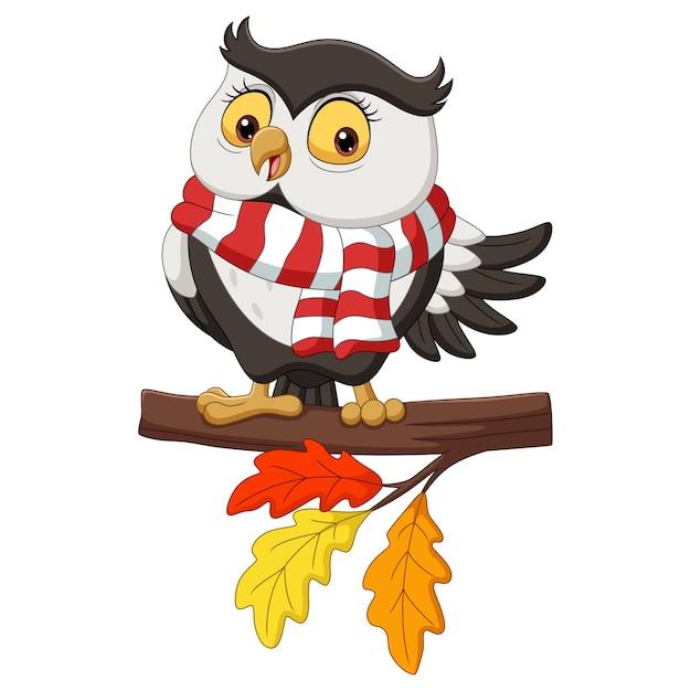 Симпатичный осенний мультфильм совы в шарфе на ветвях деревьев Premium векторы