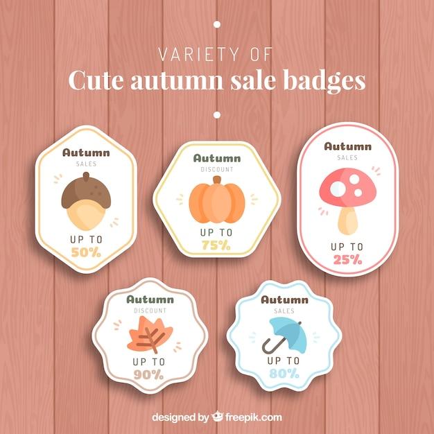 Cute autumn sale badges