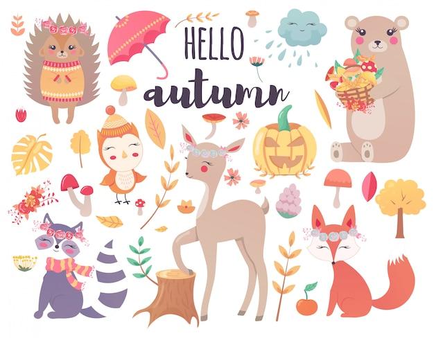 かわいい秋の森の動物と秋の花の森のデザイン要素 Premiumベクター