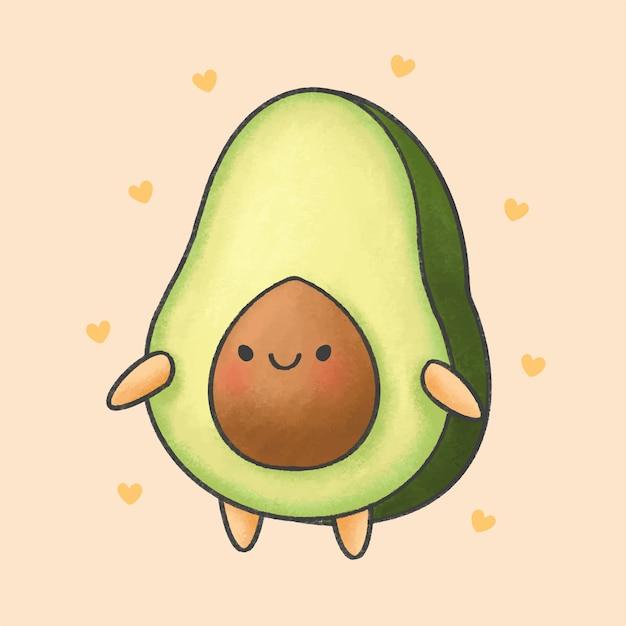Cute avocado cartoon hand drawn style Premium Vector