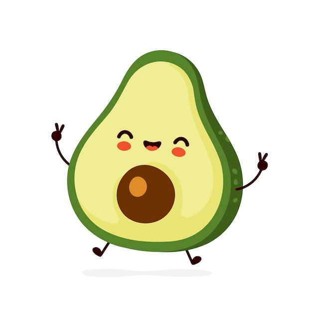 Cute avocado character Premium Vector