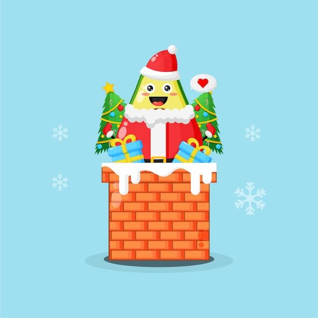 크리스마스 선물과 함께 굴뚝에 귀여운 아보카도 프리미엄 벡터