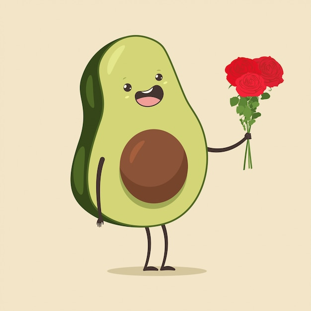 Cute avocado with rose flower with Premium Vector