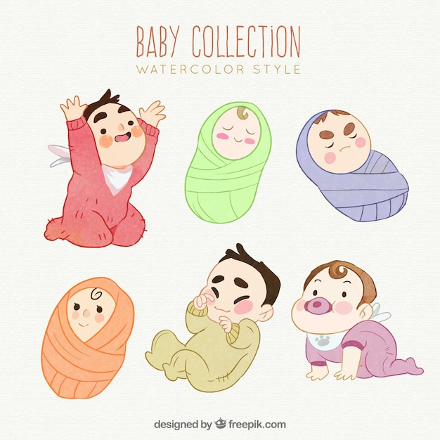 Cute babies collection in watercolor\ style