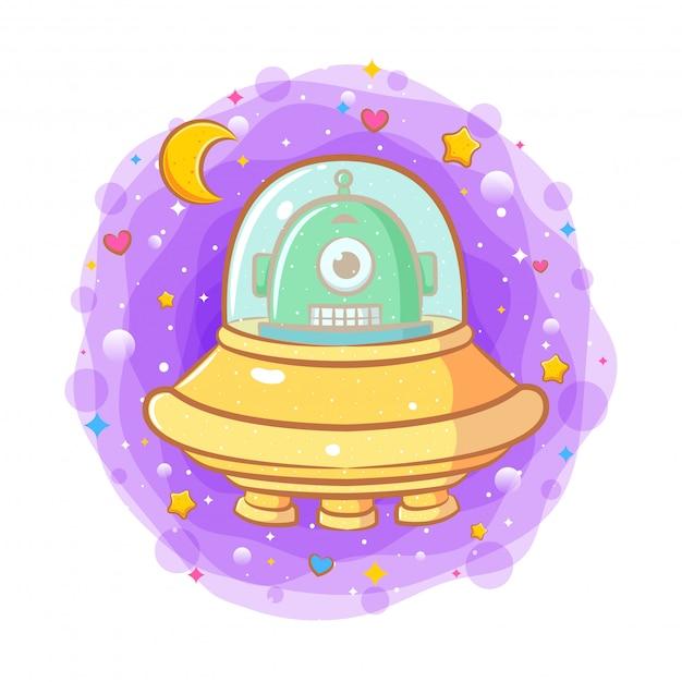 Cute baby alien in a flying saucer Premium Vector