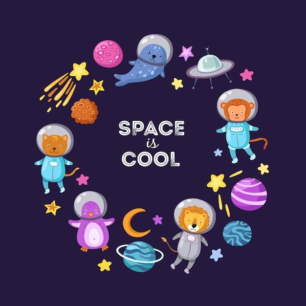 Cute baby animal astronauts flying kid pets cosmonauts cartoon funny spaceman science Premium Vector